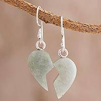 Jade dangle earrings, 'Love Together in Light Green' - Heart-Shaped Light Green Jade Earrings from Guatemala