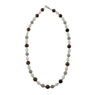 Multi-gemstone beaded necklace, 'Fertile Land' - Jade Tiger's Eye and Pearl Beaded Necklace from Guatemala