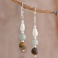 Multi-gemstone dangle earrings, 'Fertile Land' - Jade Tiger's Eye and Pearl Dangle Earrings from Guatemala