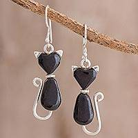 Jade dangle earrings, 'Cats of Love in Black' - Jade Cat Dangle Earrings in Black from Guatemala