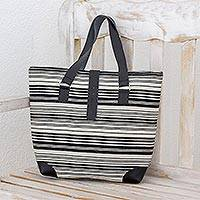 Cotton tote, 'Cultural Contrast' - Striped Cotton Tote in Black and White from Guatemala