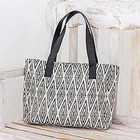 Cotton shoulder bag, 'Diamond Style in Black' - Diamond Motif Cotton Shoulder Bag from Guatemala