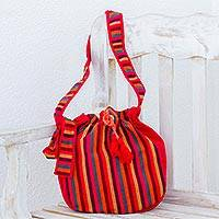Cotton sling, 'Nahua Colors' - Striped Cotton Sling in Poppy from Guatemala