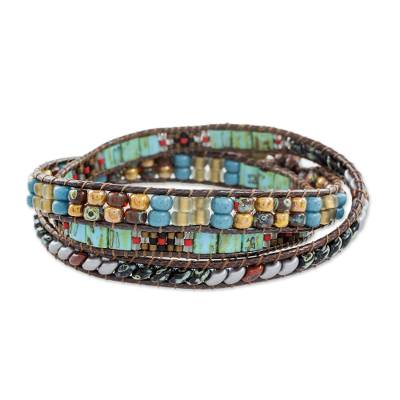 Glass beaded wrap bracelet, 'Santiago Atitlan Path' - Colorful Glass Beaded Wrap Bracelet from Guatemala