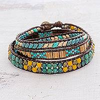 Glass beaded wrap bracelet, 'Santiago Atitlan Journey' - Handcrafted Glass Beaded Wrap Bracelet from Guatemala