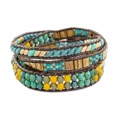 Glass beaded wrap bracelet, 'Santiago Atitlan Journey' - Handcrafted Glass Beaded Wrap Bracelet from Guatemala