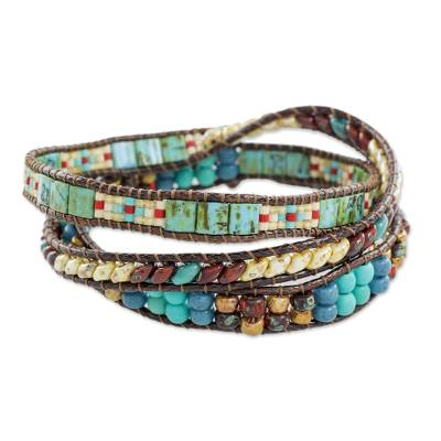 Glass beaded wrap bracelet, 'Santiago Atitlan Adventure' - Handmade Glass beaded Wrap Bracelet from Guatemala