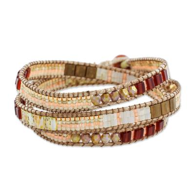 Aventurine beaded wrap bracelet, 'Mayan Architecture' - Aventurine Beaded Wrap Bracelet in Peach from Guatemala