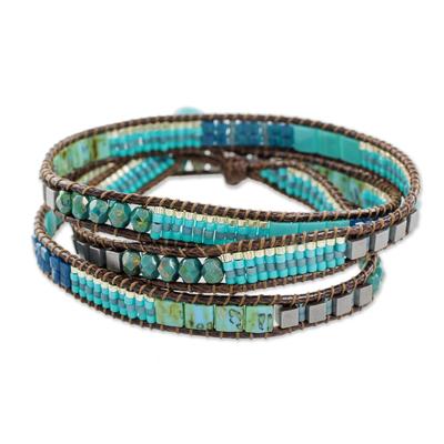 Glass beaded wrap bracelet, 'Mayan Monolith' - Glass Beaded Wrap Bracelet in Turquoise from Guatemala
