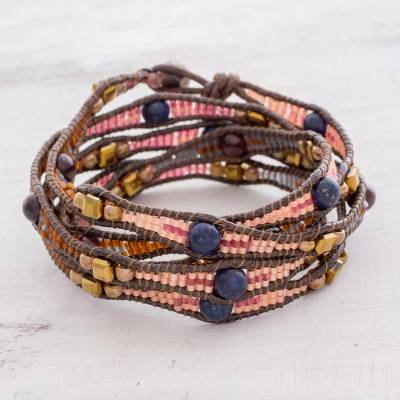 Garnet and lapis lazuli beaded wrap bracelet, 'Stones of Destiny' - Garnet and Lapis Lazuli Beaded Wrap Bracelet from Guatemala