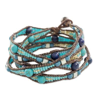 Lapis lazuli beaded wrap bracelet, 'Stones of Destiny' - Lapis Lazuli Beaded Wrap Bracelet from Guatemala