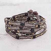 Onyx beaded wrap bracelet,