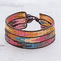 Glass beaded wristband bracelet, 'Colorful Guide'