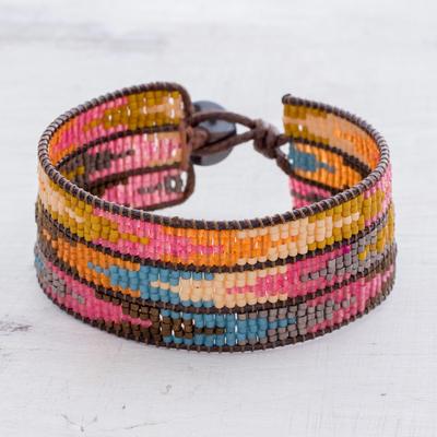 Glass beaded wristband bracelet, 'Colorful Guide' - Colourful Arrow Motif Glass Beaded Bracelet from Guatemala