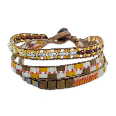 Glass beaded wristband bracelet, 'Lights of the City' - Multi-Strand Glass Beaded Wristband Bracelet from Guatemala