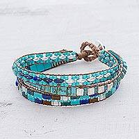 Glass beaded wristband bracelet, 'Pools of the City' - Glass Beaded Wristband Bracelet in Blue from Guatemala