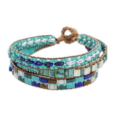 Glass beaded wristband bracelet, 'Pools of the City' - Glass Beaded Wristband Bracelet in Blue from Guatemala
