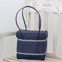 Recycled plastic shoulder bag, 'Picnic Day' - Recycled Plastic Shoulder Bag in Navy from Guatemala