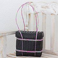 Recycled plastic shoulder bag, 'Picnic Adventure' - Recycled Plastic Shoulder Bag in Black from Guatemala