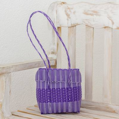 Recycled plastic shoulder bag, 'Purple Picnic' - Recycled Plastic Shoulder Bag in Purple from Guatemala