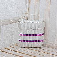 Recycled plastic sling, 'Striped Combination' - Striped Plastic Sling in Snow White from Guatemala