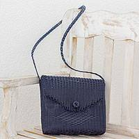 Recycled plastic shoulder bag, 'Elegant Pattern' - Handwoven Recycled Plastic Sling in Navy from Guatemala