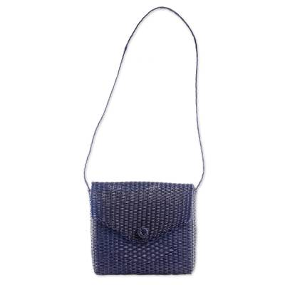Handwoven Recycled Plastic Sling in Navy from Guatemala