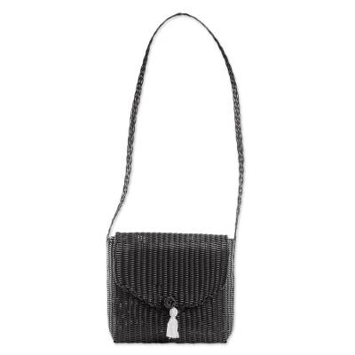Handwoven Recycled Plastic Sling in Black from Guatemala