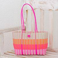 Recycled plastic shoulder bag, 'Colorful Season' - Handwoven Striped Plastic Shoulder Bag from Guatemala