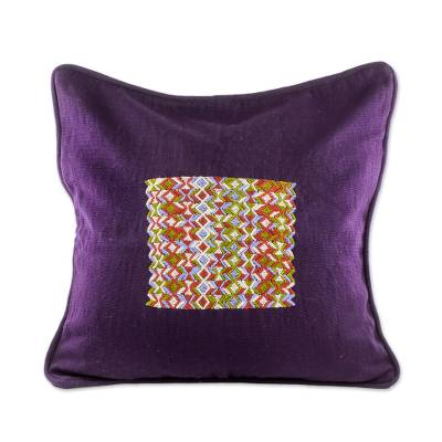 Cotton cushion cover, 'Imperial Design' - Hand Woven Purple Cotton Cushion Cover from Guatemala