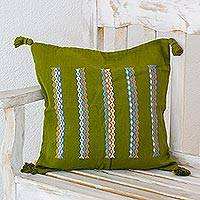 Cotton cushion cover, 'Olive Elation' - Hand Woven Olive Green Cotton Cushion Cover