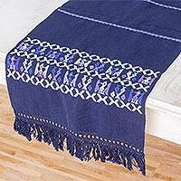 Cotton table runner, 'Road to Cotzal' - Blue Cotton Table Runner with Ixil Motifs