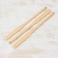 Wood spatulas, 'Cocina de Amor' (set of 3) - Slender Unfinished Cypress Wood Spatulas (Set of 3)