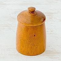 Cedar wood jar, 'Delicious Possibilities' - Hand Crafted Cedar Wood Jar and Lid from Guatemala