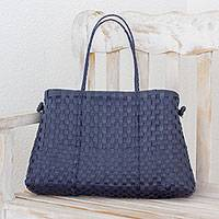 Recycled plastic shoulder bag, 'Navy Pattern' - Handcrafted Recycled Plastic Shoulder Bag from Guatemala