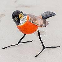 Ceramic figurine, 'Robin' - Artisan Crafted Robin Clay Bird Figurine from Guatemala