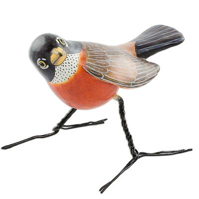 Artisan Crafted Robin Clay Bird Figurine from Guatemala