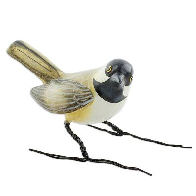 Ceramic figurine, 'Chickadee' - Hand Painted Black Capped Chickadee Clay Bird Figurine
