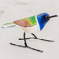 Ceramic figurine, 'Jacobin Hummingbird' - Guatemalan Handmade Jacobin Hummingbird Clay Bird Figurine