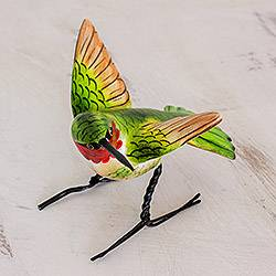 Ceramic statuette, 'Ruby-Throated Hummingbird' - Hand Sculpted Ceramic Ruby-Throated Hummingbird Statuette