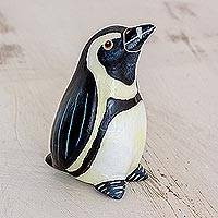 Ceramic figurine, 'African Penguin' - Hand Sculpted and Painted Ceramic African Penguin Figurine