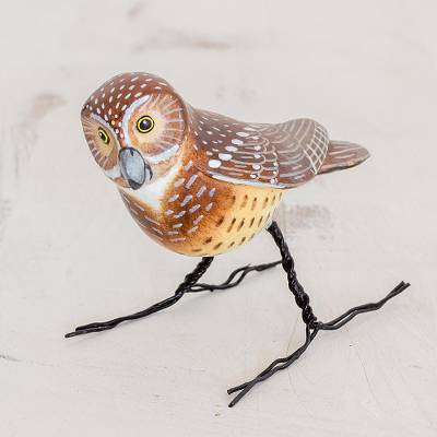 Ceramic figurine, 'Burrowing Owl' - Hand Made Burrowing Owl Ceramic Bird Figurine from Guatemala