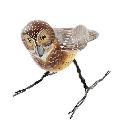 Ceramic figurine, 'Burrowing Owl' - Hand Made Burrowing Owl Ceramic Bird Figurine from Guatemala
