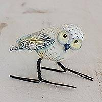 Ceramic figurine, 'Snowy Owl' - Hand Painted Snowy Owl Ceramic Bird Figurine from Guatemala