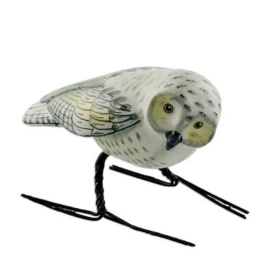 Ceramic figurine, 'Snowy Owl' - Hand Painted Snowy Owl Ceramic Bird Figurine from Guatemala