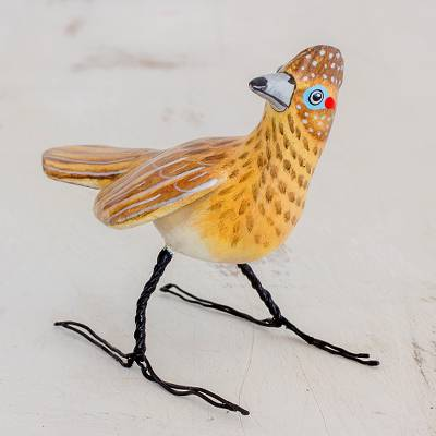 Ceramic figurine, 'Roadrunner' - Guatemalan Artisan Crafted Roadrunner Ceramic Bird Figurine