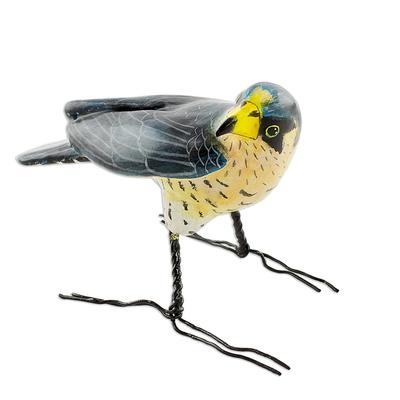 Ceramic figurine, 'Peregrine Falcon' - Guatemalan Handmade Peregrine Falcon Ceramic Bird Figurine