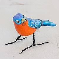 Ceramic figurine, 'Eastern Bluebird' - Guatemalan Handmade Eastern Bluebird Ceramic Bird Figurine