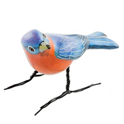 Ceramic figurine, 'Eastern Bluebird' - Guatemalan Handmade Eastern Bluebird Ceramic Bird Figurine