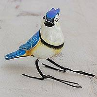 Ceramic figurine, 'Blue Jay' - Hand Painted Blue Jay Ceramic Bird Figurine from Guatemala